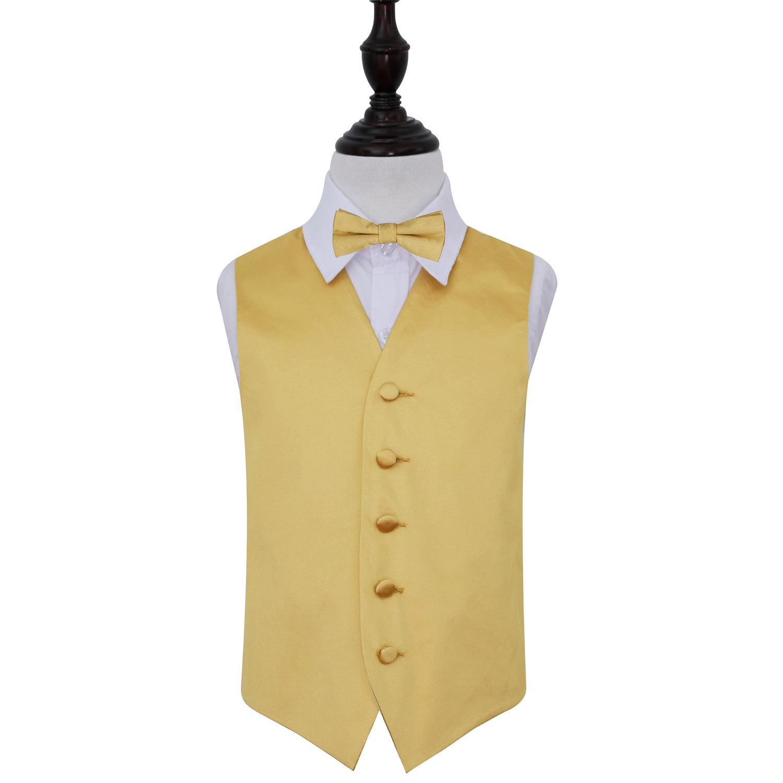 Boys Plain Gold Satin Wedding Waistcoat & Bow Tie Set 28