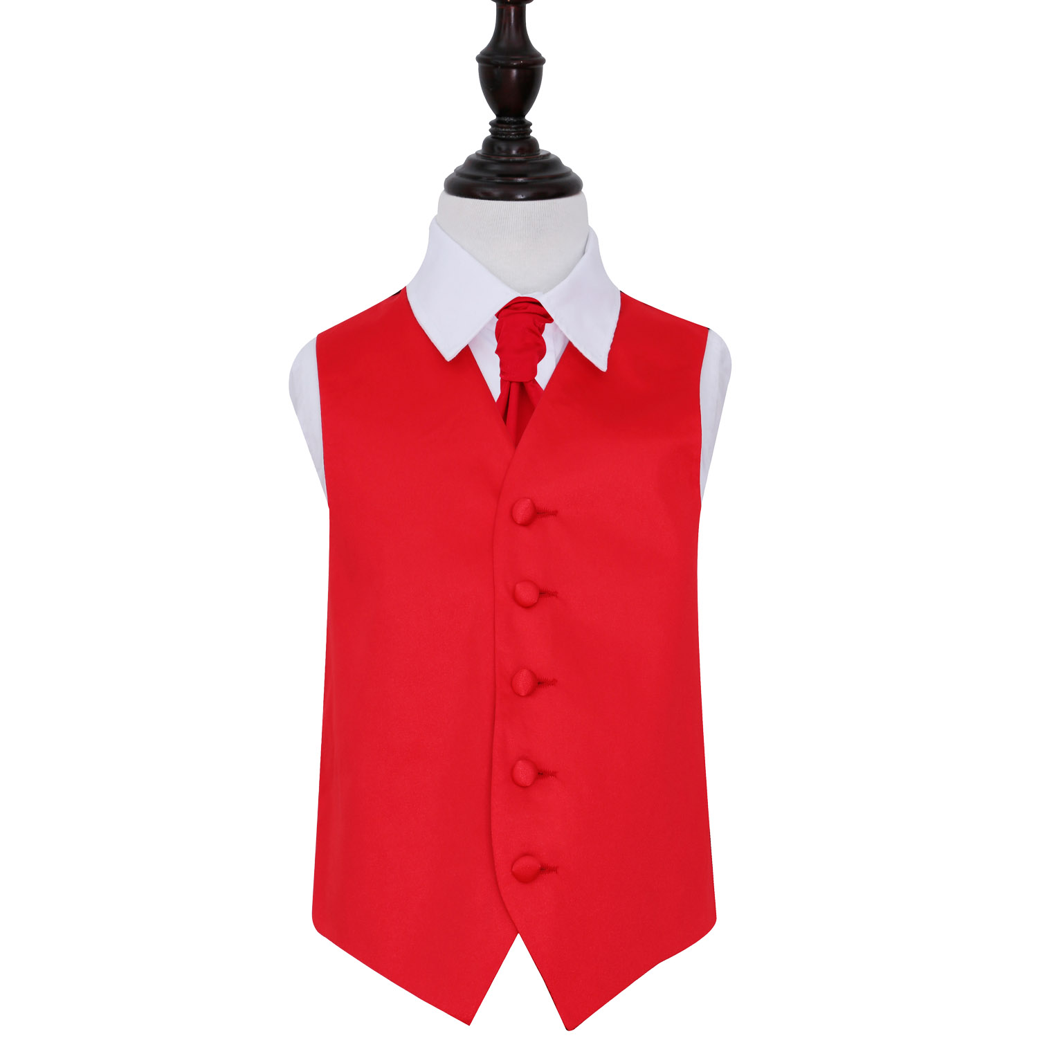 Boys bright red satin waistcoat and adjustable tie set by Romano Vianni. Made in a smooth silky fabric, this classic style waistcoat has covered buttons, two faux front pockets and a contrasting back panel in black with an adjustable buckle.