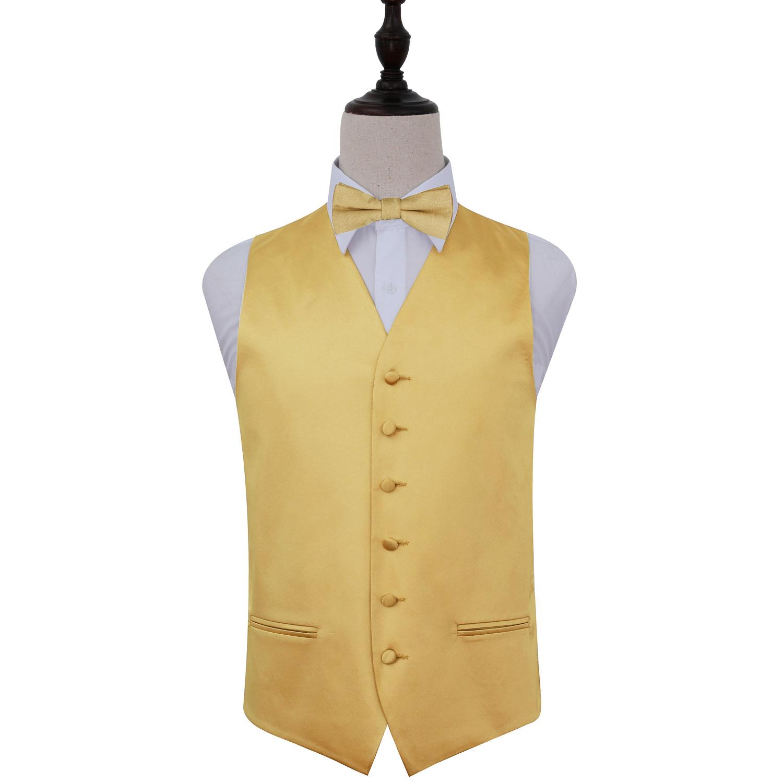 Plain Gold Satin Wedding Waistcoat & Bow Tie Set 36