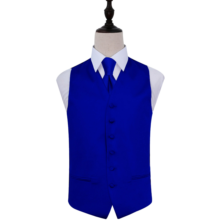 Men's Plain Royal Blue Satin Waistcoat & Tie Set