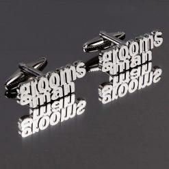 Grooms Man Cut Out Words Wedding Cufflinks