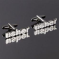 Usher Cut Out Words Wedding Cufflinks