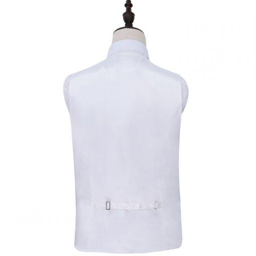 White Plain Satin Wedding Waistcoat & Bow Tie Set