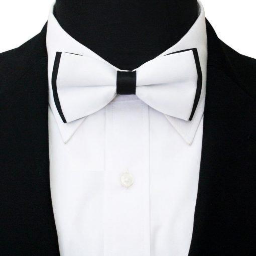 White & Black Plain Satin Pre-Tied Bow Tie