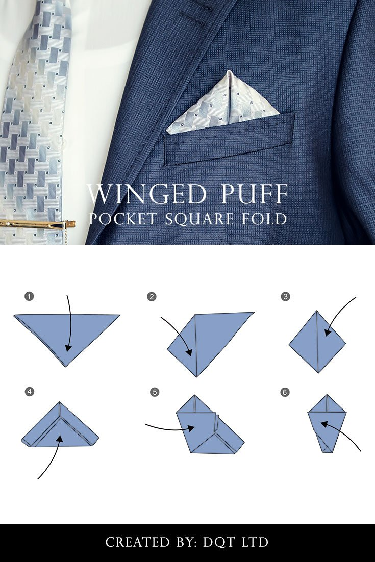 How To Fold a Winged Puff Pocket Square (11 of 11) by DQT